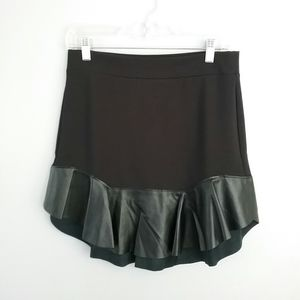 Chelsea Sky Black Vegan Leather Trim Mini Skirt